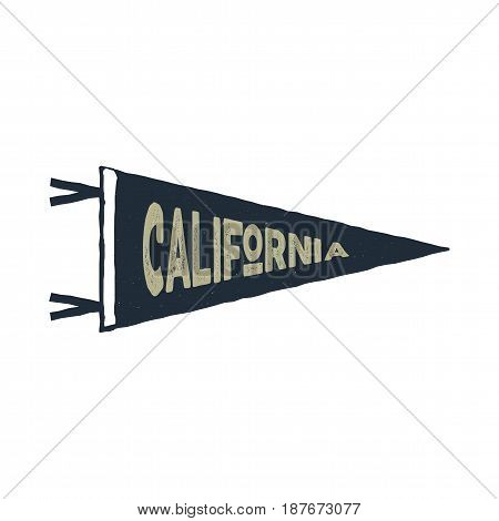 Vintage hand drawn pennant template. California sign. Retro textured, letterpress effect. Outdoor adventure, retro colors style. Vector isolated on white background.