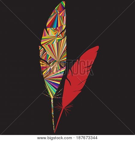 Abstract feather logo with colorful triangle shapesand black background