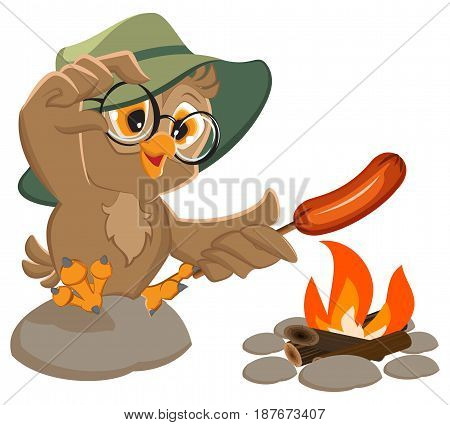 Picnic owl scout frying sausage on fire. Isolated on white vector cartoon illustration