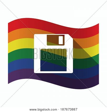 Isolated Gay Pride Flag With A Floppy Disk