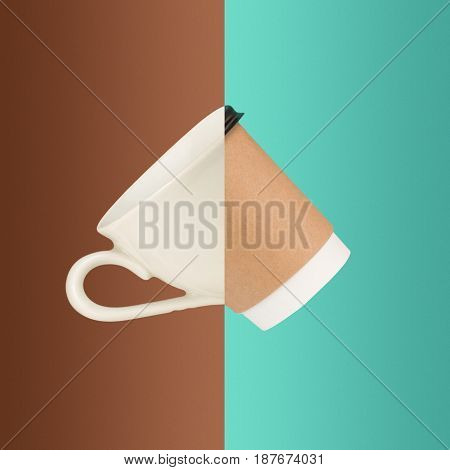 The collage from images of cups of coffee on colored background. The concept of old and new cups