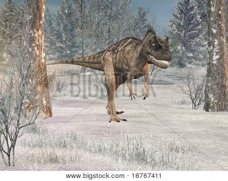 ceratosaurus in winter forest