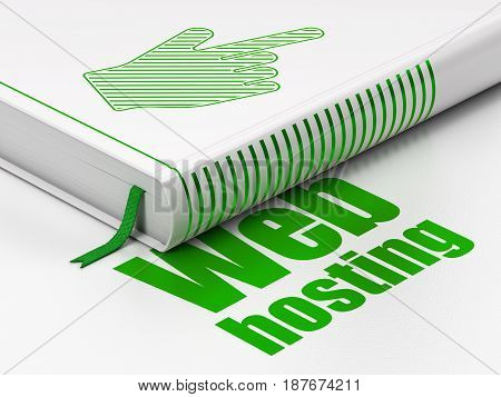 Web development concept: closed book with Green Mouse Cursor icon and text Web Hosting on floor, white background, 3D rendering