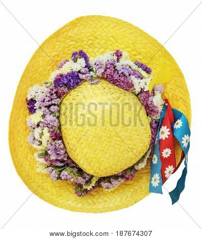 summer yellow straw hat isolated on white background