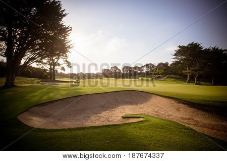 A golf course on the Mornington Peninsula on a summer's evening in Victoria, Australia