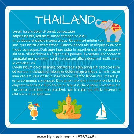 Thailand framed touristic banner with national symbols and sample text. Thai cultural, architectural, nature attractions vector illustrations. Vacation in asian country concept for travel company ad