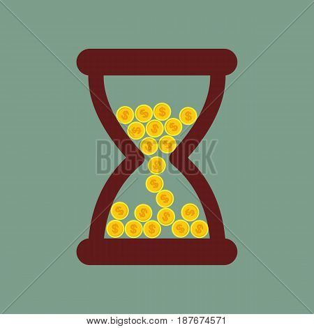Time is money. Hourglass with gold coins. vector illustration.