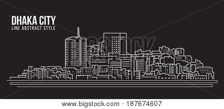 Cityscape Building Line art Vector Illustration design - Dhaka city