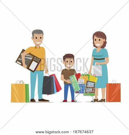Family making holiday purchases. Pleased parents with son standing with bought goods in paper bags and trolley flat vector isolated on white. Happy customers illustration for shopping and sale concept