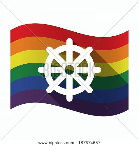 Isolated Gay Pride Flag With A Dharma Chakra Sign