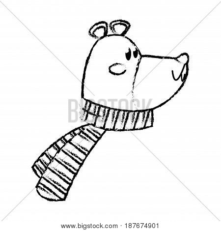cute bear wearing scarf christmas character vector illustration