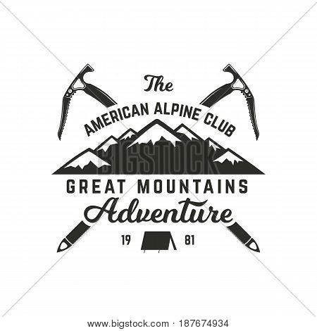 Vintage hand crafted label. Mountain expedition, outdoor adventure badge with climbing symbols and typography design. Stock Vector isolated on white background. Monochrome.