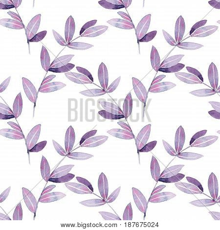 Floral seamless pattern. Watercolor branches with leaves