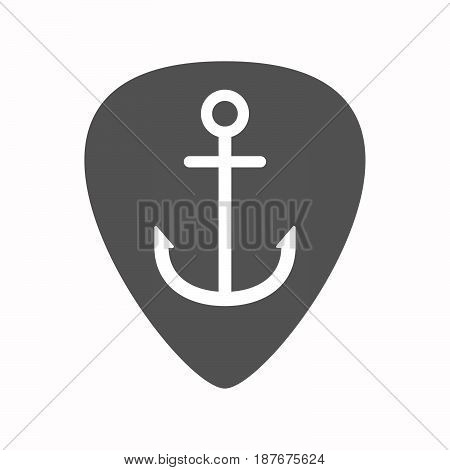 Isolated Guitar Plectrum With An Anchor
