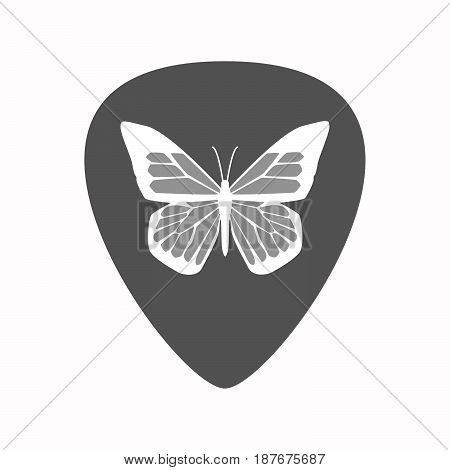 Isolated Guitar Plectrum With A Butterfly