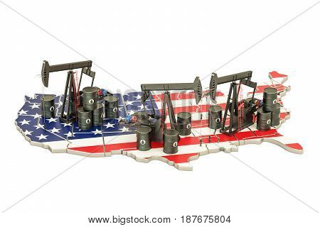 USA map with oil barrels and pumpjacks. Oil production concept. 3D rendering