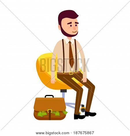 Young hipster sitting on yellow chair on wheels isolated on white. Brown suitcase full of green money lying near comfortable armchair. Vector illustration in cartoon style flat design for web.