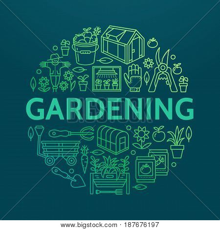Gardening, planting horticulture banner with vector line icon. Garden equipment, organic seeds, green house, pruners watering can, tools. Vegetables, flower cultivation poster with place for text.
