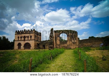 Fasilidas palace and Library in Fasil Ghebbi site in Gonder Ethiopia