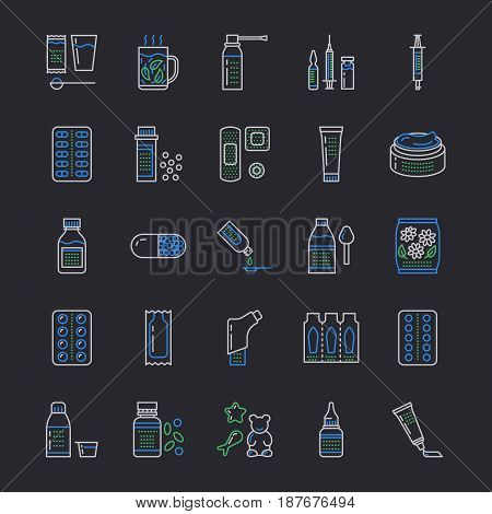 Medicines, dosage forms line icons. Pharmacy medicaments, tablet, capsules, pills, antibiotics, vitamins, painkillers aerosol spray. Medical threatment health care thin linear signs for drug store.