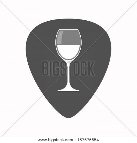 Isolated Guitar Plectrum With A Cup Of Wine