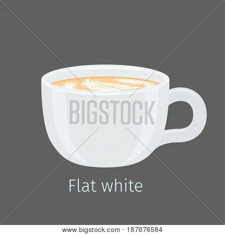Porcelain cup with aromatic flat white vector. Hot invigorating drink with caffeine. Espresso based coffee with latte art on creamy foam surface illustration for coffee house and cafe menus design
