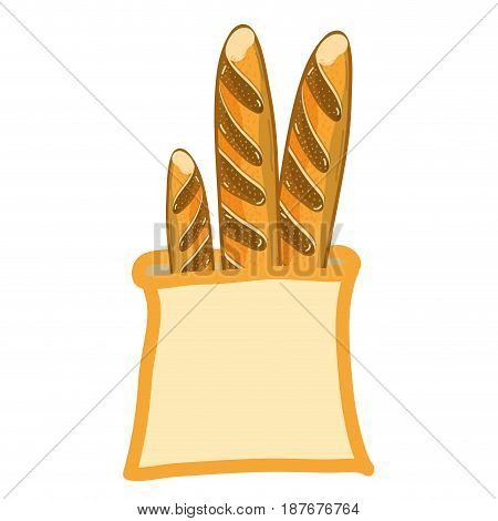 fresh and delicious french bread in the bag, vector illustration