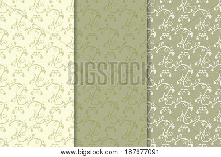 Olive green floral seamless background. Collection of fabric prints. Vector illustration