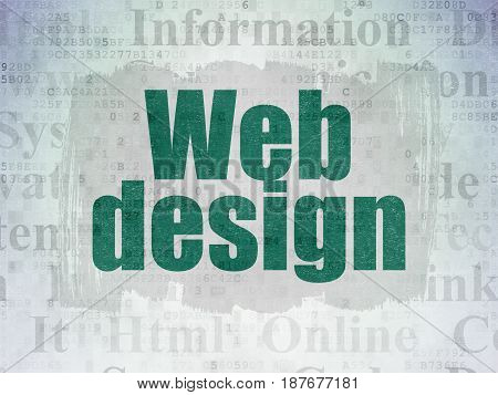 Web design concept: Painted green text Web Design on Digital Data Paper background with   Tag Cloud