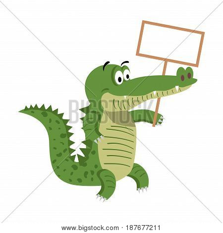 Cute cartoon crocodile with empty signboard isolated on white background. Cute big reptile vector illustration. Drawn friendly croc with eyebrows and board with place for your text flat design.