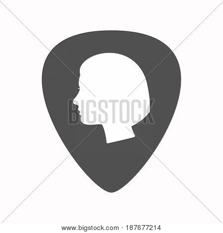 Isolated Guitar Plectrum With A Female Head