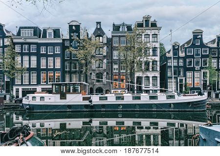 Canals of Amsterdam. Moody streets of Rossebuurt district