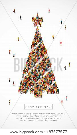 Large group of santa clauses, snowmen, deer, trees and snow maidens stand in the figure of New Year's spruce. Vector illustration on white background. Concept of a holiday card for Christmas.
