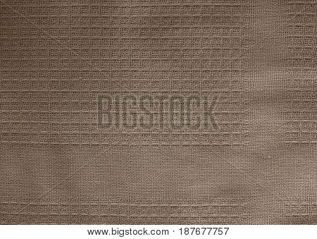 Fabric Texture Close Up of Brown Textile Pattern Background.