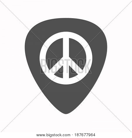 Isolated Guitar Plectrum With A Peace Sign
