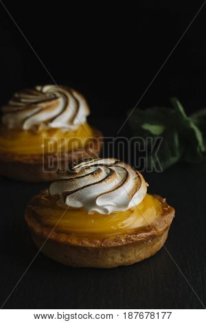 Lemon Pie On The Table With Citrus Fruits. Traditional French Sweet Pastry Tart. Delicious, Appetizi