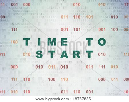 Time concept: Painted green text Time to Start on Digital Data Paper background with Binary Code