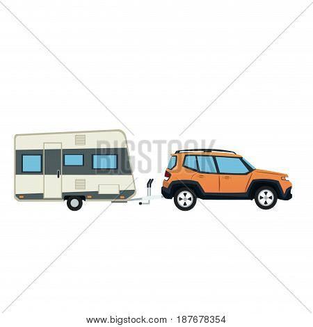suv car and trailer camping adventure travel vector illustration