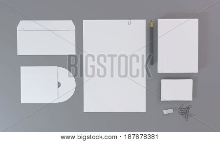 Blank white stationery and corporate identity template. Over gray background. Mock-up for branding identity. 3D rendering.