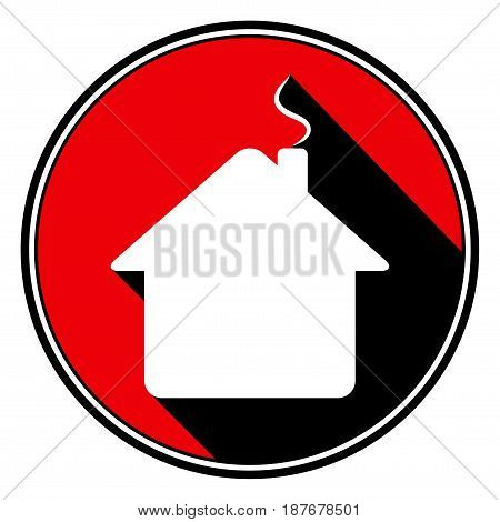 red round with border and black shadow - white house with chimney icon