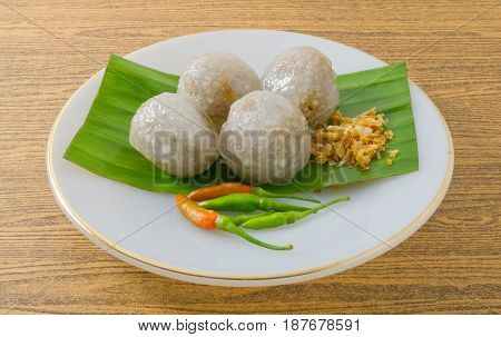 Thai Traditional Dessert Close Up of Tapioca Balls Made From Glutinous Rice Filled with Minced Pork and Sweet Pickled Daikon Radish.