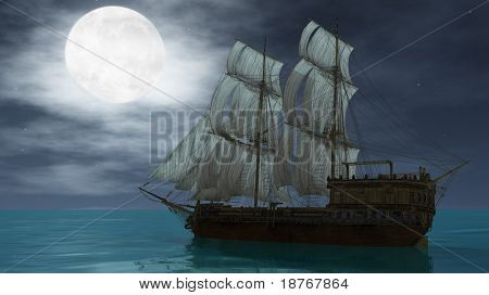 ship with sails in the ocean under the moon