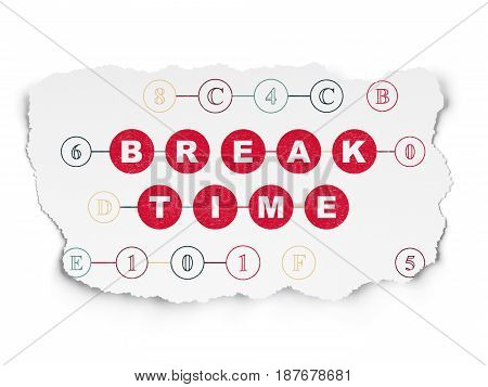 Time concept: Painted red text Break Time on Torn Paper background with Scheme Of Hexadecimal Code