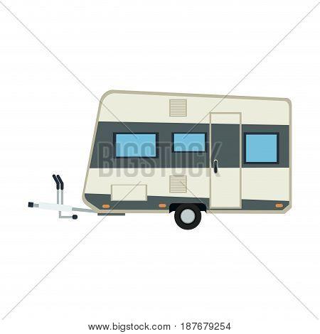 camper trailer vacation travel outdoor image vector illustration