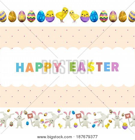 Happy easter vector flyer. Funny cute bunnies jumping around, little chicken in eggshell, painted colorful eggs vector on white. Easter festive concept for wrapping paper, greeting card design