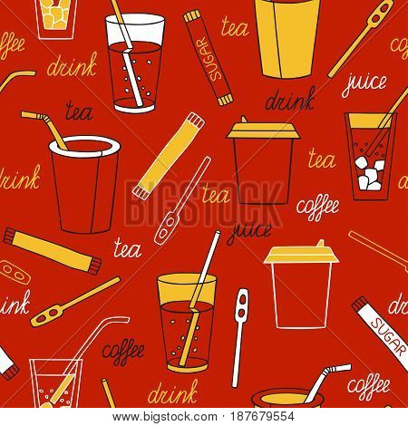Drinks on a dark background. Seamless pattern with drinks hand-drawn.