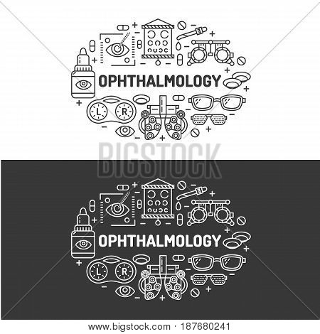 Ophthalmology, medical banner illustration. Eyes health care vector flat line icons of optometry equipment, contact lenses, glasses. Healthcare brochure, poster design. Isolated on white background.