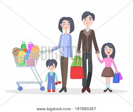 Family shopping concept isolated on white. Young man and woman make purchases with kids cartoon flat vector illustration. Father and mother buying gifts on holiday sale with son and daughter