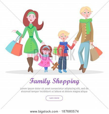 Family shopping banner. Young man and woman make purchases with kids cartoon flat vector illustration isolated on white background. Father and mother buying gifts on holiday sale with son and daughter