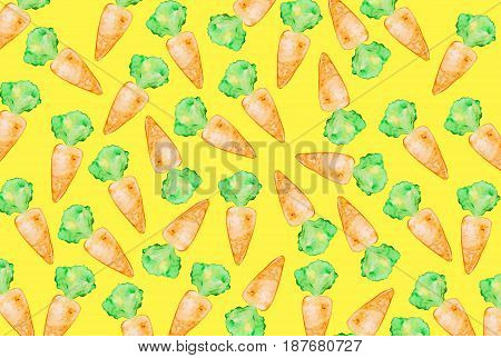 Tasty appetizing colorful background with hand drawn carrots on yellow background. Pattern seamless. Food concept.